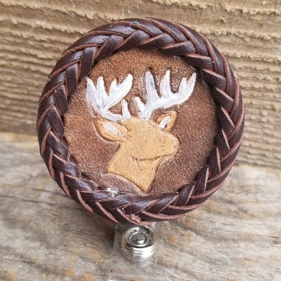 Laced Leather ID Reel badge with Deer