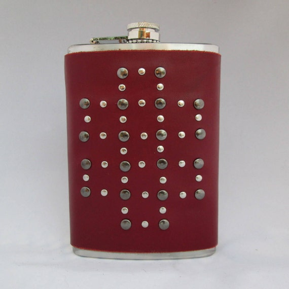 Silver Studded Red Leather Flask