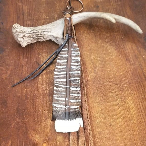 Leather Turkey Feather Key Chain with Buffalo Leather Tassel