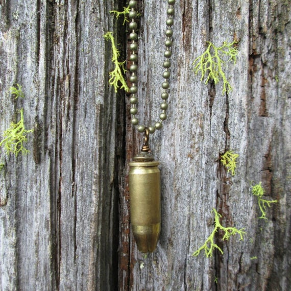 Bullet Necklace, Ammo Necklace, Bullet Casing Necklace, 9mm Bullet Necklace