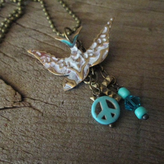 Brass Charm Necklace, Embossed Metal Necklace, Bird Necklace