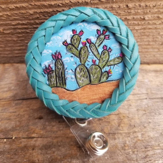 Laced Leather ID Reel badge with Cactus Scene