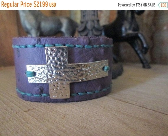 ON SALE Purple Leather Cuff with Cross
