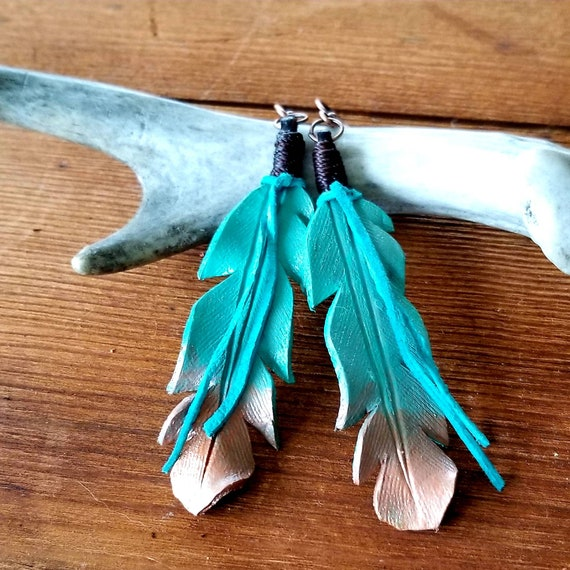 Large Turquoise to Copper Ombre Leather Feather Earrings