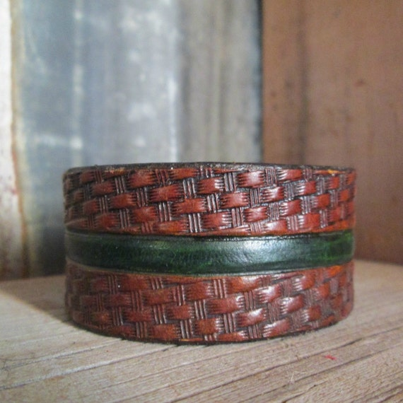 Green Line Leather Cuff, Tooled Leather Cuff, Leather Cuff