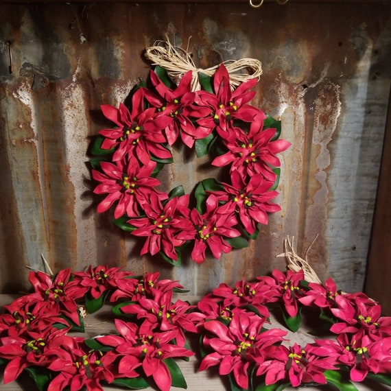 Leather Poinsettia Christmas Wreath
