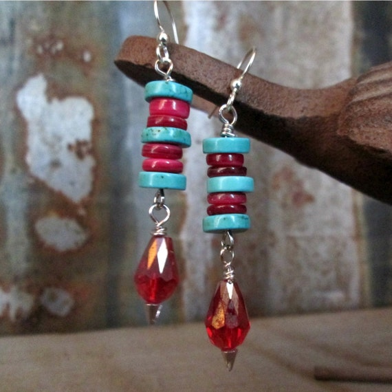 Turquoise Beaded Earrings, Red Beaded Earrings