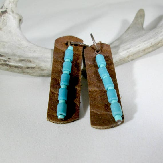 Recycled Buffalo Leather Earrings with Turquoise Beads