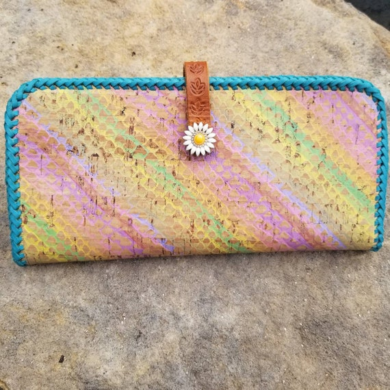 Hand Crafted Cork and Leather Ladies Leather Long Wallet