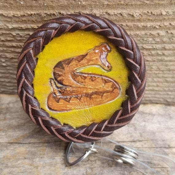 Laced Leather ID Reel badge with Rattle Snake