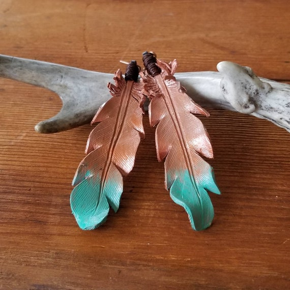 Extra Large Copper to Turquoise Ombre Leather Feather Earrings