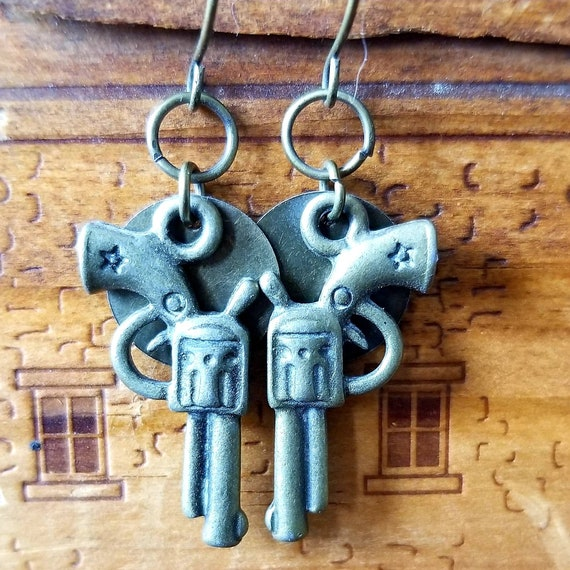 Brass Pistol Earrings