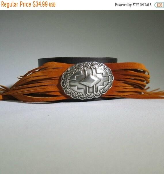 ON SALE Leather Fringe Cuff with Orange Fringe, Orange Cuff, Fringe Cuff