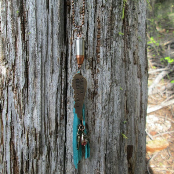 Tassel Bullet Charm Necklace with Stamped Brass Wing