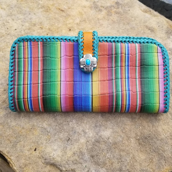 Hand Crafted Ladies Serape Leather Long Wallet