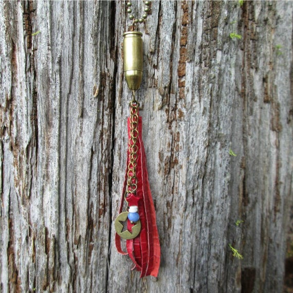 Red Leather Fringe Bullet Necklace with Red, White and Blue Beads and Brass Star