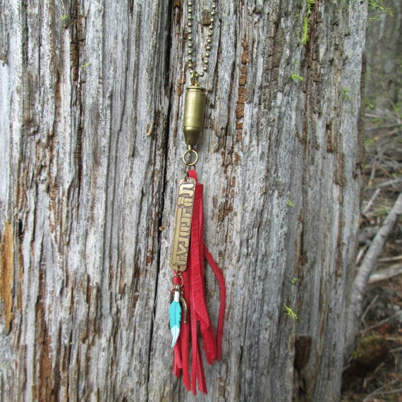 Red Leather Fringe Bullet Necklace with Mustang Brand