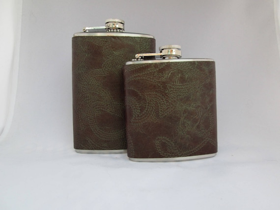 Boot Stitched Leather Flask