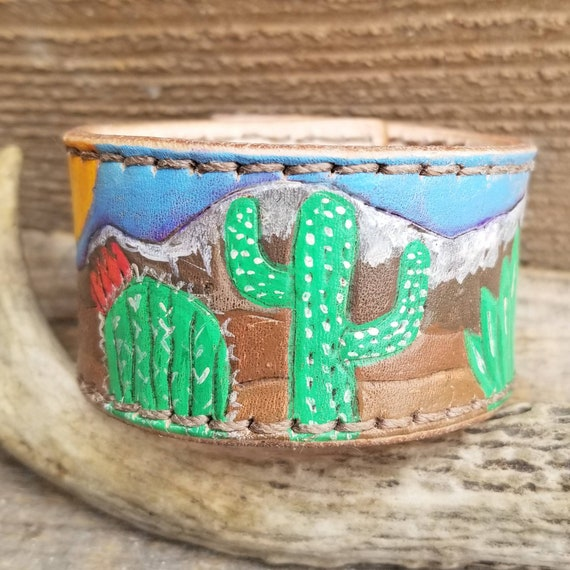 Hand Painted Desert Scene Leather Cuff
