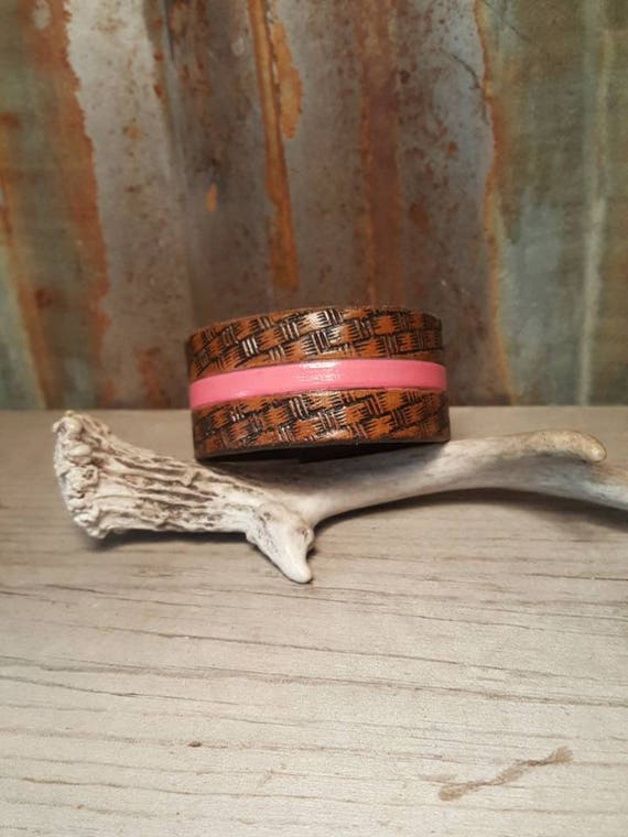Breast Cancer Awareness Pink Leather Cuff