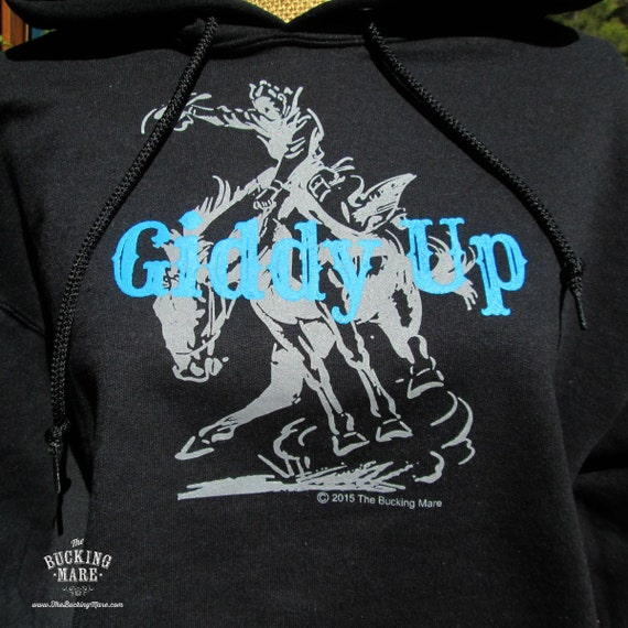 Western Hoodie, Black Sweat Shirt, Sweat Shirt, Bucking Horse T Shirt,, Western Screen Print Hoodie