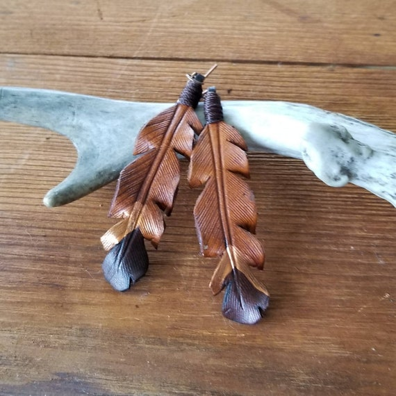 Large Leather Feather Earrings with Copper Chevron Accent