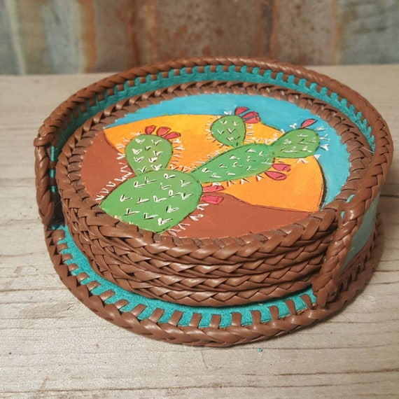 Cactus Leather Coaster Set