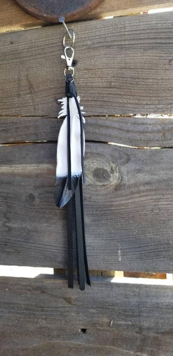 Black Toned Leather Turkey Feather
