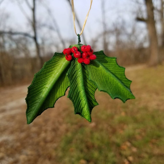 Leather Holly Leaf Christmas Ornament