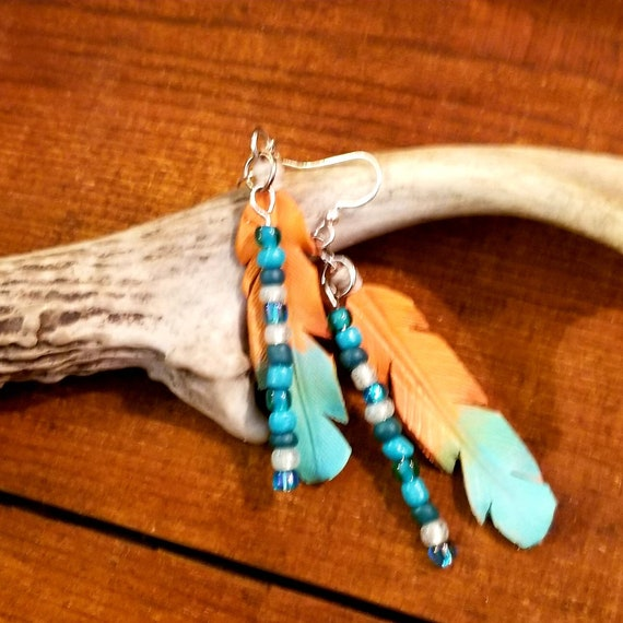 Hand Painted Leather Feather Earrings with Beaded Accent