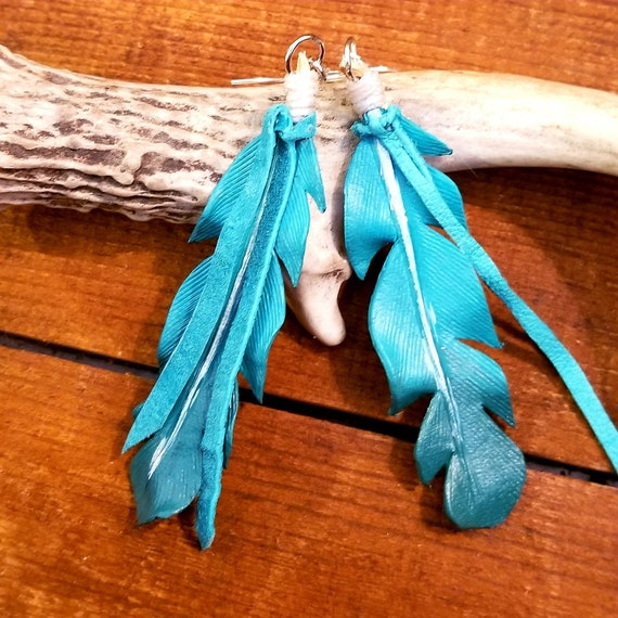 Large Turquoise to Purple Ombre Leather Feather Earrings