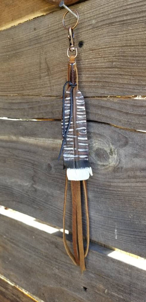 Brown and Black Toned Turkey Feather Clip with Tassel