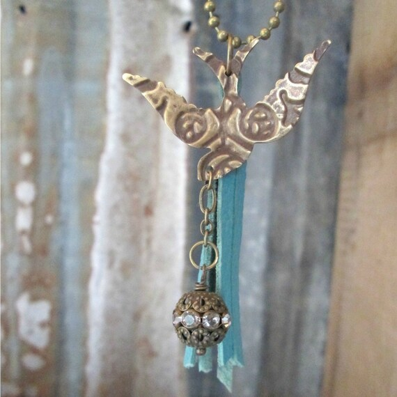 Free Bird Embossed Brass Charm Necklace
