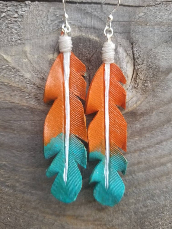 Mountain Sunset Leather Feather Earrings