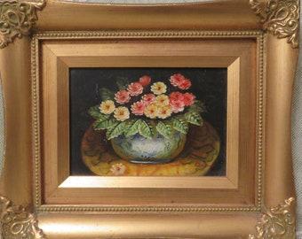 Vintage Oil Painting on Board of Bowl of Primrose Flowers, Vintage Framed Floral Oil Painting Vintage Painted Art Vintage Primroses Painting
