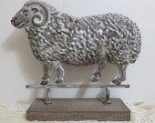 Vintage Pressed Metal Sheep Ram Sculpture Mounted on Wood, Vintage Sheep Statue, Vintage Ram, French Country Vintage Farmhouse Cottage Decor