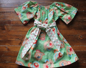 4T Paisley Print with cherries - Peasant dress with Sash - Boutique Toddler