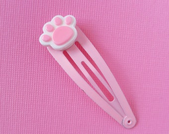 Cute Pink and White Kitten Paw Hair Clip Hair Clip Cute Kawaii Hair Clip Kawaii Fairy Kei Hair Clip Girl Clip, Pink and Blue, Baby Girl