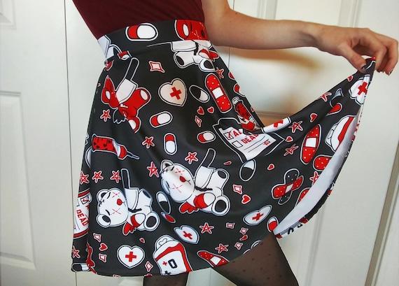 Dark Menhera Skater Skirt , Black Red and White Yami Kawaii Guro Art with  Teddy Bears, Needles, Blood Bag