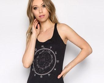 Constellation, Zodiac Tank Top, Women's Tank Top, Ladies Tank Top, Graphic Tee, Birth Sign Shirt, Zodiac Dial, Stars