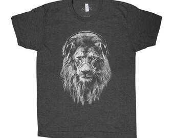 748088e24 Lion T-shirt, Men's Graphic Tee, Custom Hand Screen Print, Tri-Blend Short  Sleeve, Headphone T-shirt, Animal T-shirt, Unisex T-shirt