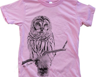 a29ffcb3d Kids OWL Tshirt Custom Hand Screen Printed American Apparel Crew Neck  Available