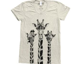 db96d8f73b1 GIRAFFE Shirt Screen Print Tri-Blend Short Sleeve Tshirt Available  S