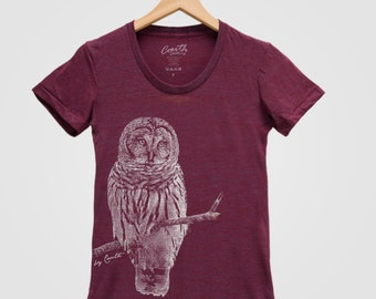 c76a53ad OWL Shirt Women Screen Print Tri-Blend Short Sleeve Tshirt Available: S , M  , L , XL