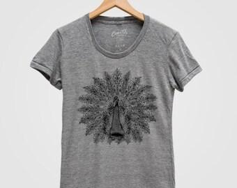 d22abbdbd PEACOCK Shirt Women Screen Print Tri-Blend Short Sleeve Tshirt Available:  S, M, L, XL