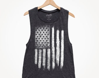 81cfc9a512e AMERICAN FLAG Muscle Tank Top