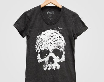 6c18f8115 Skull Shirt, Women's T-shirt, Halloween Tshirt, Screen Print T-shirt,  Graphic Tee, Shirt Sleeve T-shirt, Halloween Costume, Party Shirt