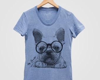 FRENCH BULLDOG Shirt, Dog Shirt Women, Frenchi Shirt, Puppy Shirt, Cute Animal Print Tee, Graphic Tee, Dog Lover Gift