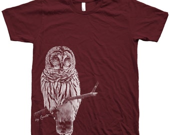 Owl T-shirt, Unisex T-shirt, Men's Tshirt, American Apparel Crew Neck, Bird T-shirt, Cute T-shirt, Short Sleeve Tshirt, Grey T-shirt, Dad