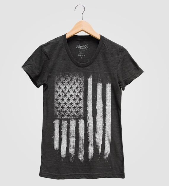 6ece943ef79 US American Flag Shirt Women Tri-blend Screen Print Graphic